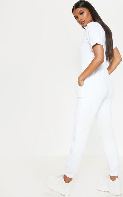White Short Sleeve Sweat Jumpsuit