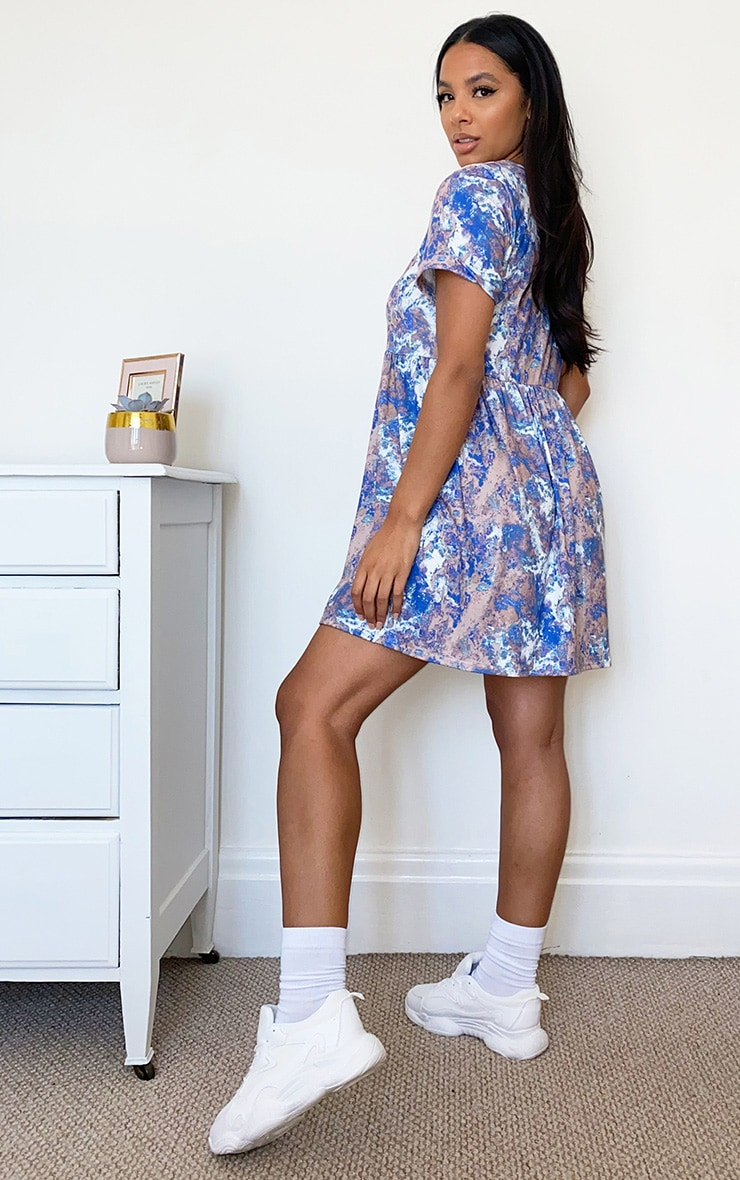 Blue Tie Dye Print Short Sleeve Smock Dress 2