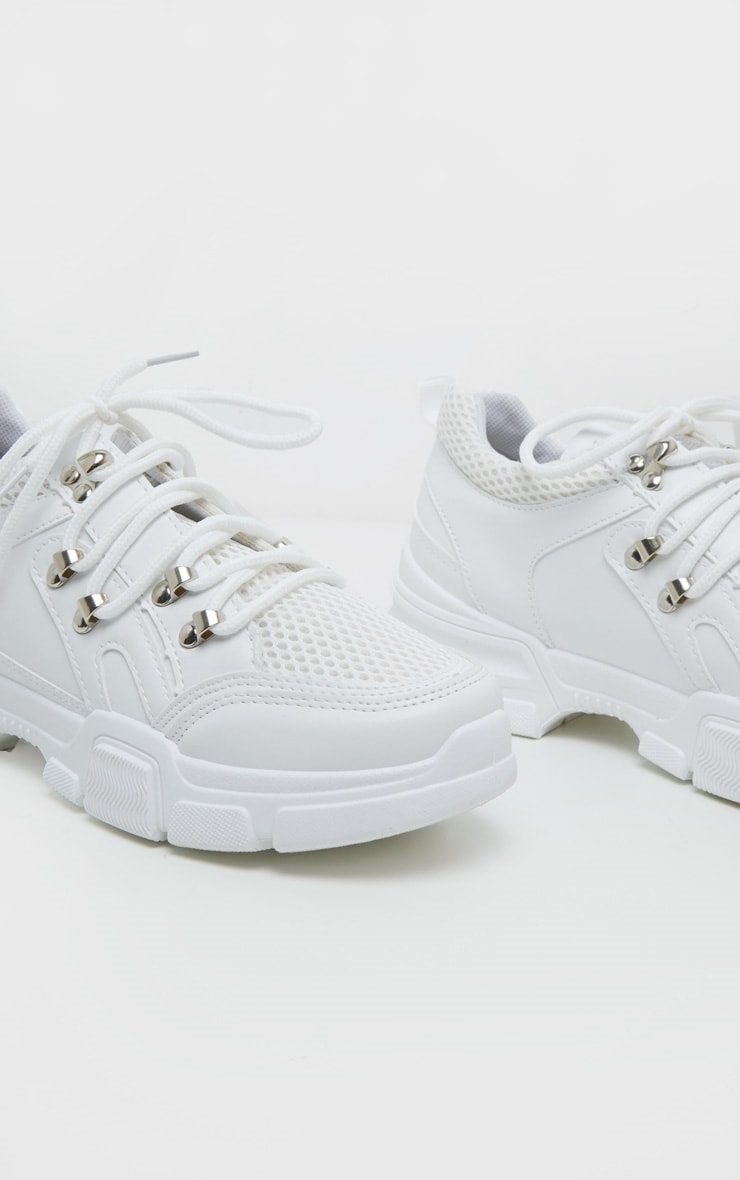 White Hiker Eyelet Detail Lace Up Trainer 4