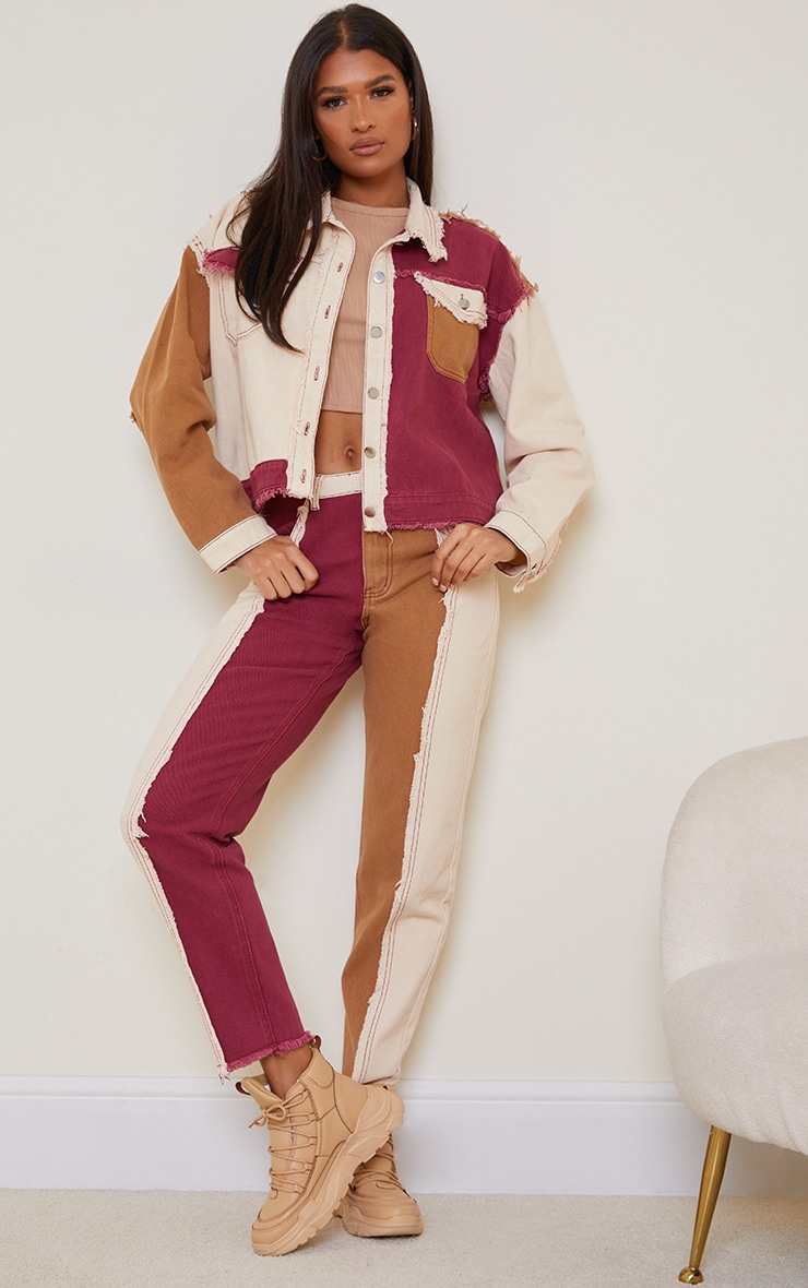 Tan Frayed Patchwork Mom Jeans 1