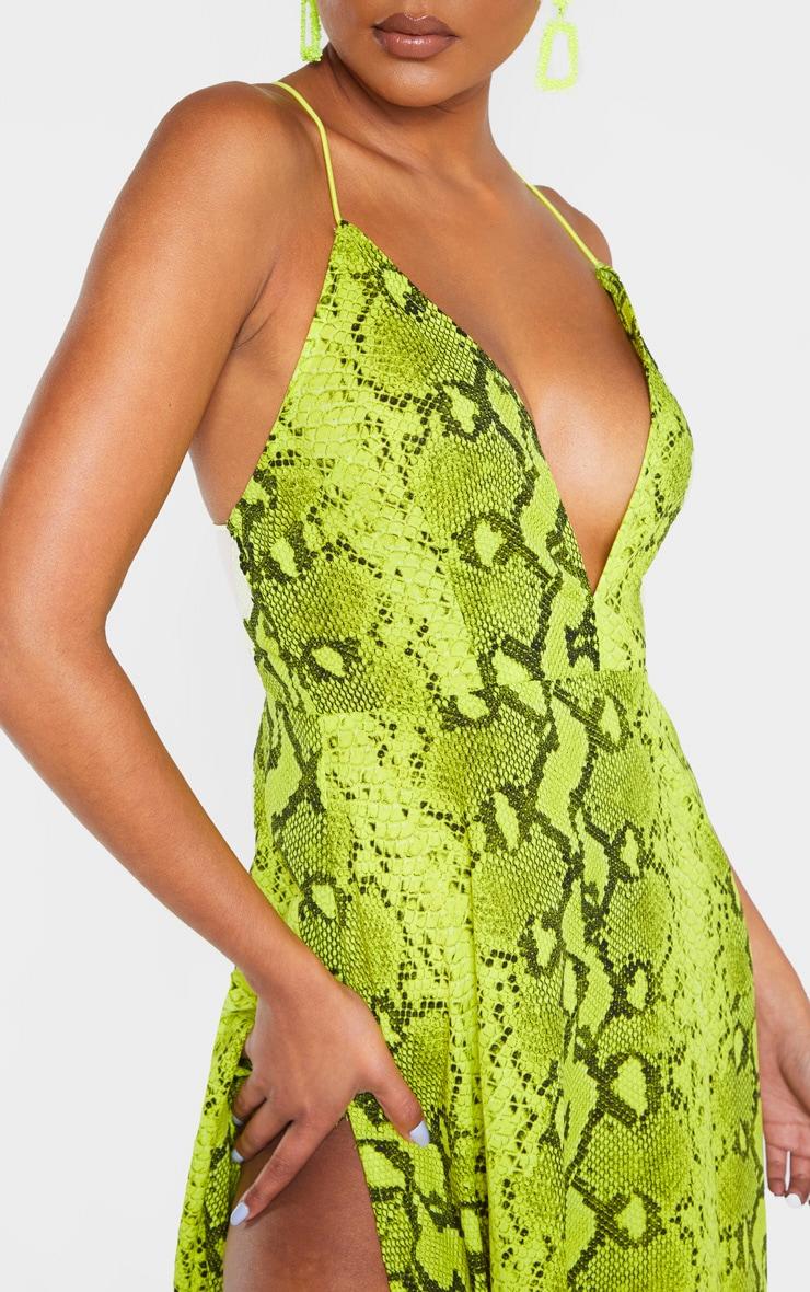 Yellow Snake Print Extreme Split Strappy Back Maxi Dress 5