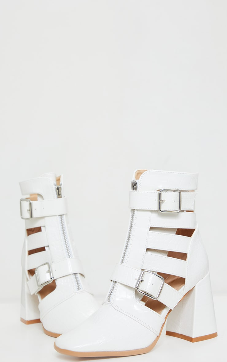White Flare Block Heel Buckle Open Ankle Boots 3