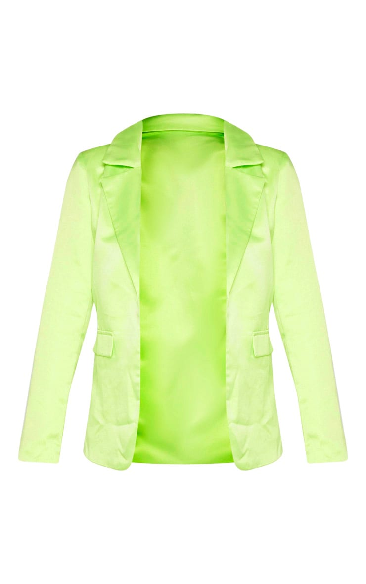 Petite Pale Lime Satin Oversized Blazer  3