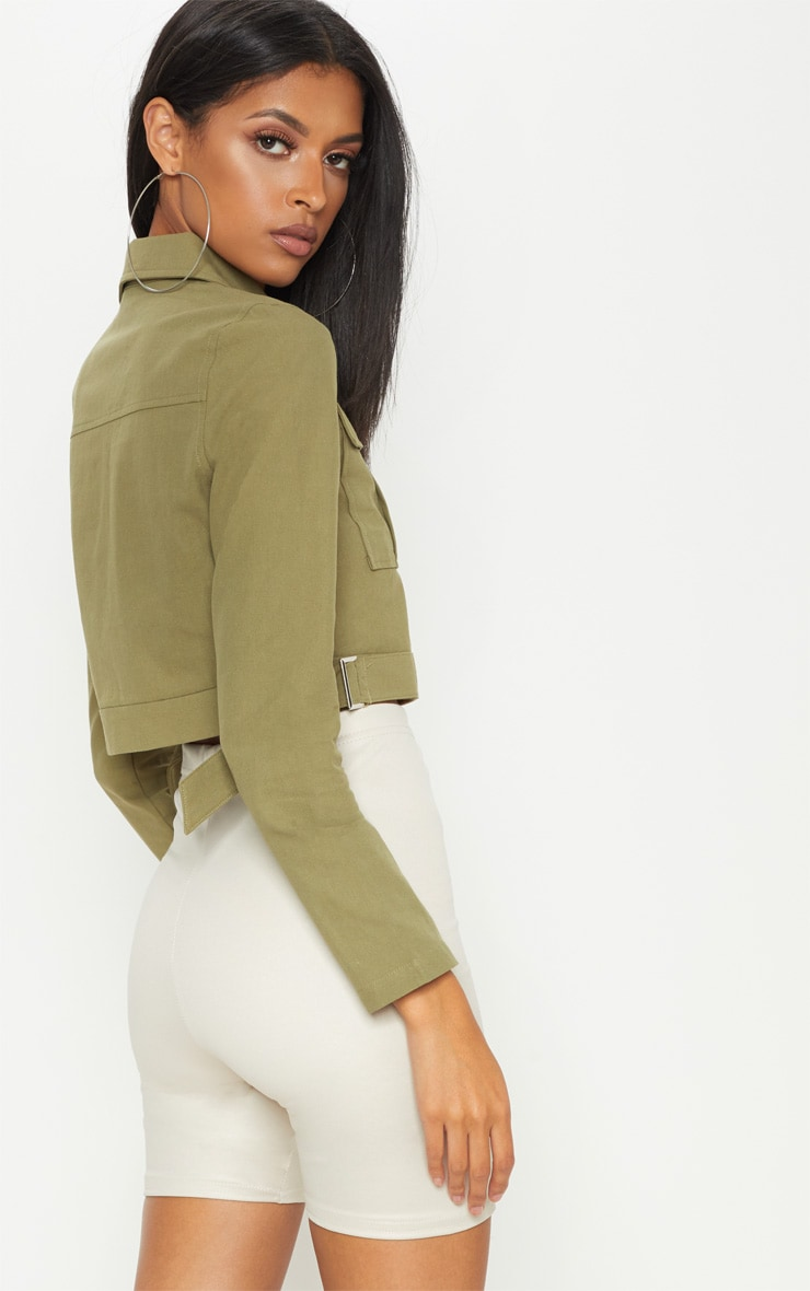 Khaki Cropped Trucker  2