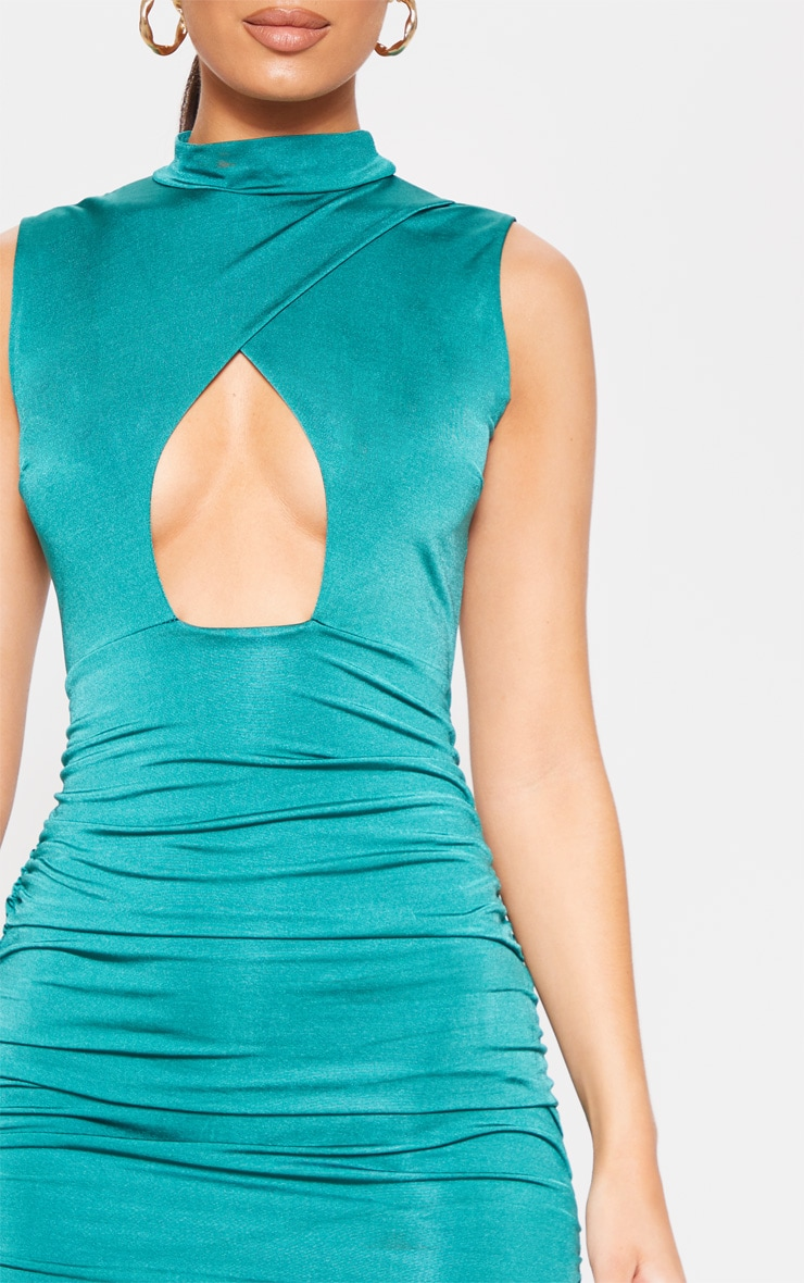 Jade Green Metallic Slinky Ruched Cut Out Bodycon Dress 5