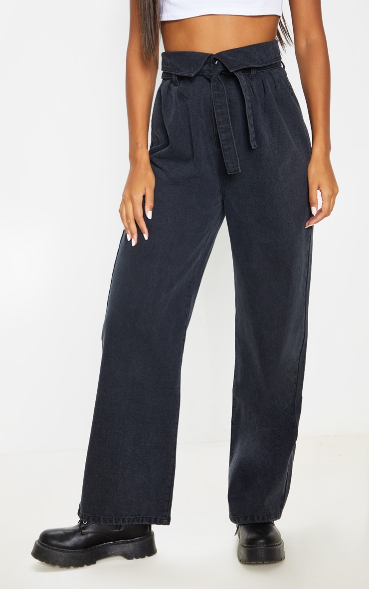 Washed Black Envelope Paperbag Baggy Jeans  2