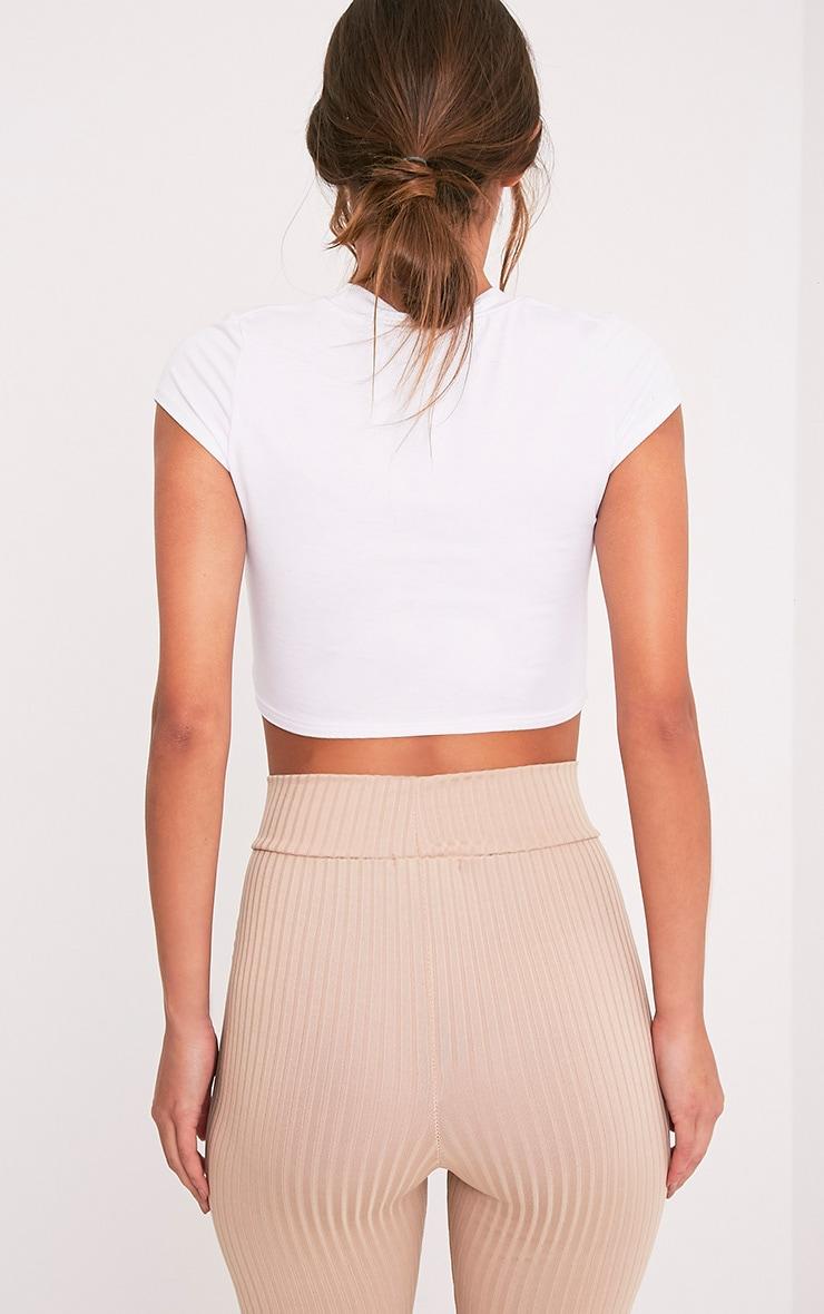Keya t-shirt court déchiré à manches courtes blanc 2