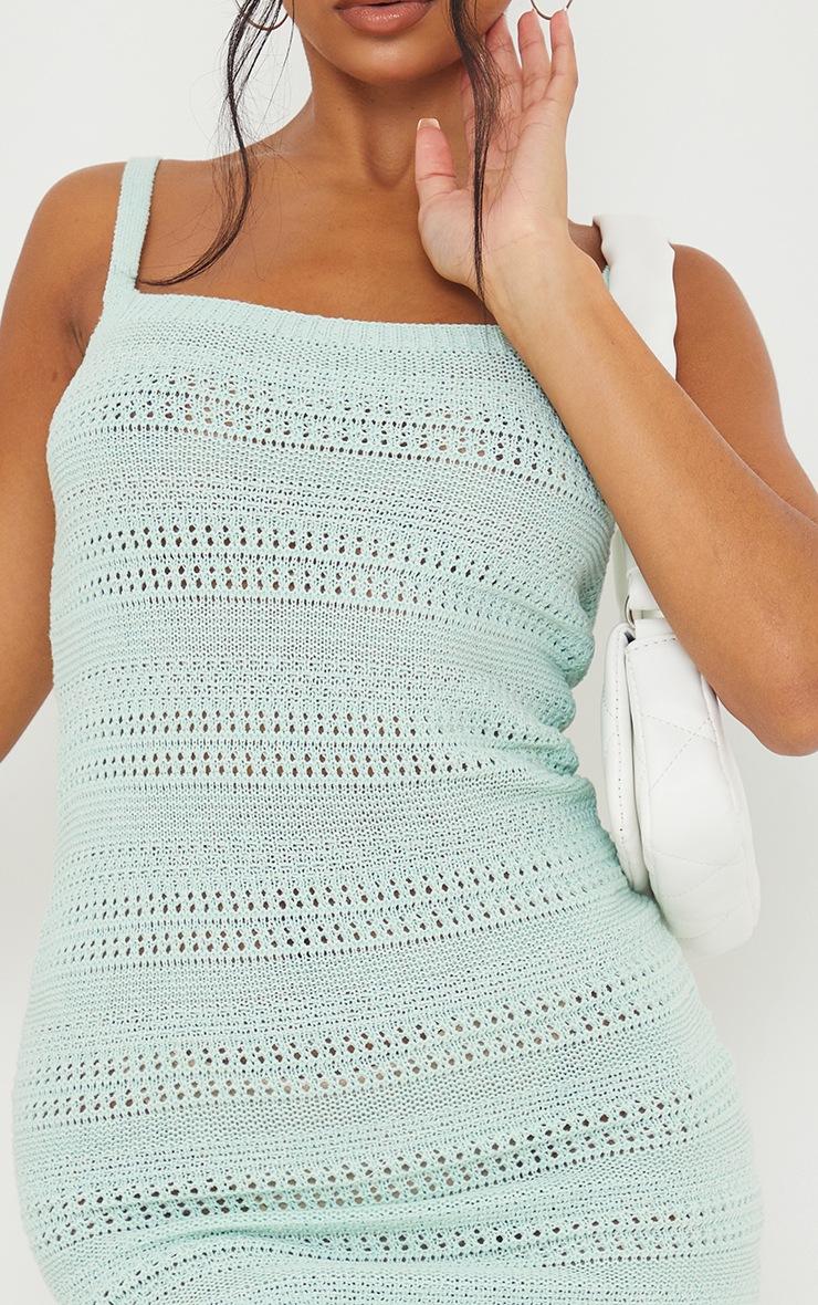 Mint Crochet Knitted Mini Dress 4