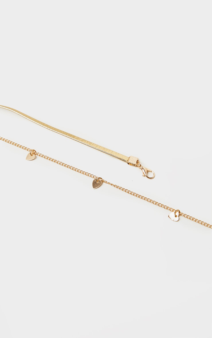 Gold Choker Heart Chain Layering Necklace 3