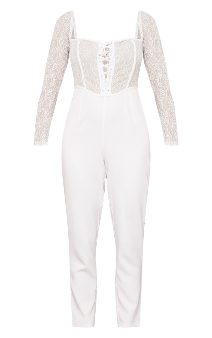 White Lace Up Lace Bodice Jumpsuit 5