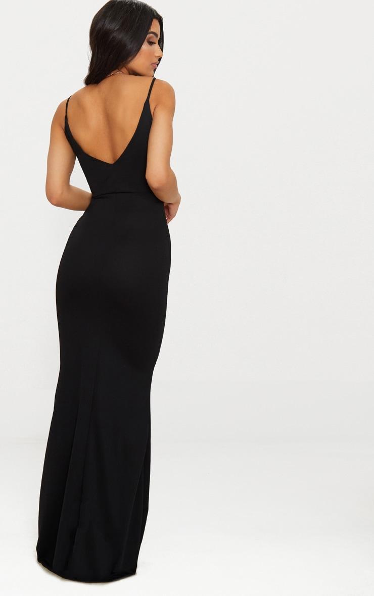 Black V Bar Backless Maxi Dress 2