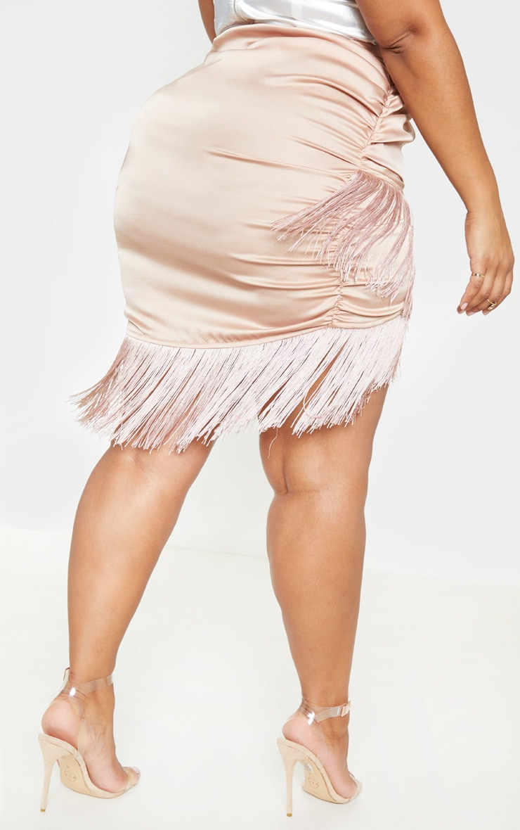 Plus Dusty Pink Satin Ruched Side Tassel Bodycon Skirt  4