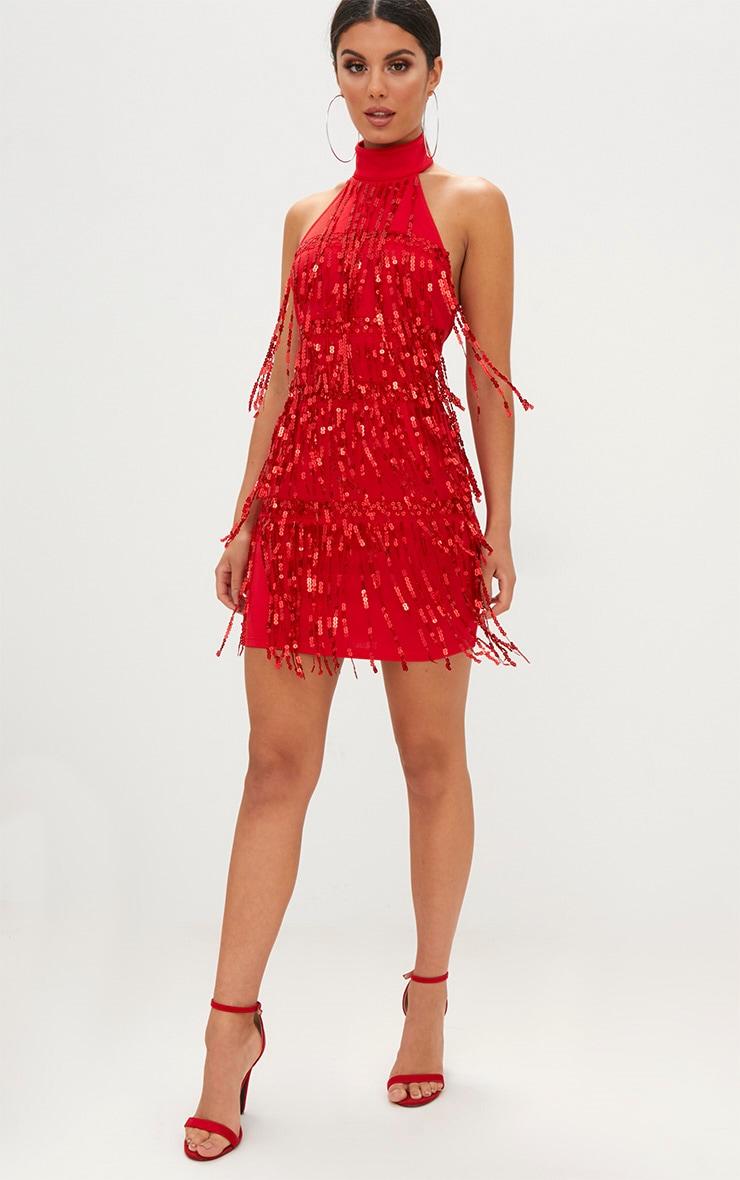 Red Tassel Sequin Bodycon Dress 4