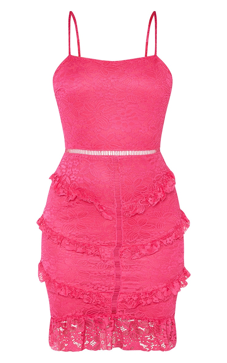 Hot Pink Lace Frill Skirt Bodycon Dress 3