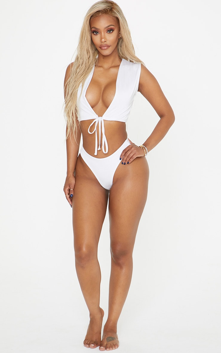 Shape White Sleeveless Tie Detail Bikini Top 4