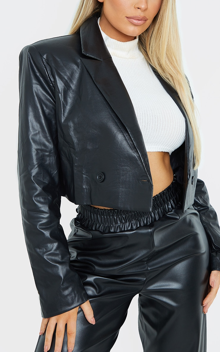 Black PU Cropped Shoulder Padded Blazer 4