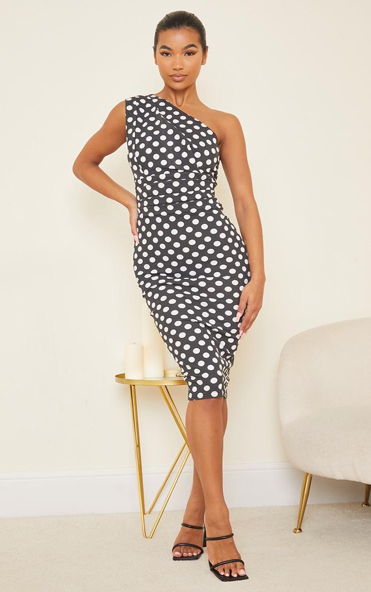 Black Polka Dot One Shoulder Ruched Detail Midi Dress 1