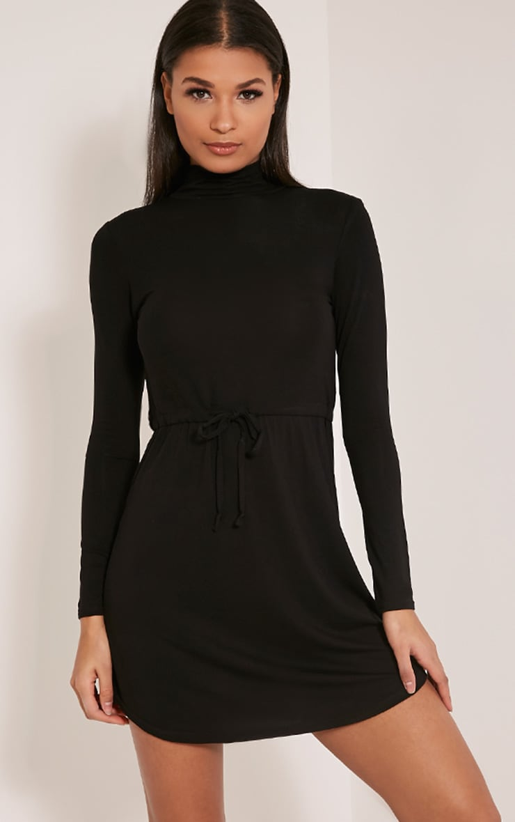 Dorathea Black Tie Waist Long Sleeve Jersey Dress 1