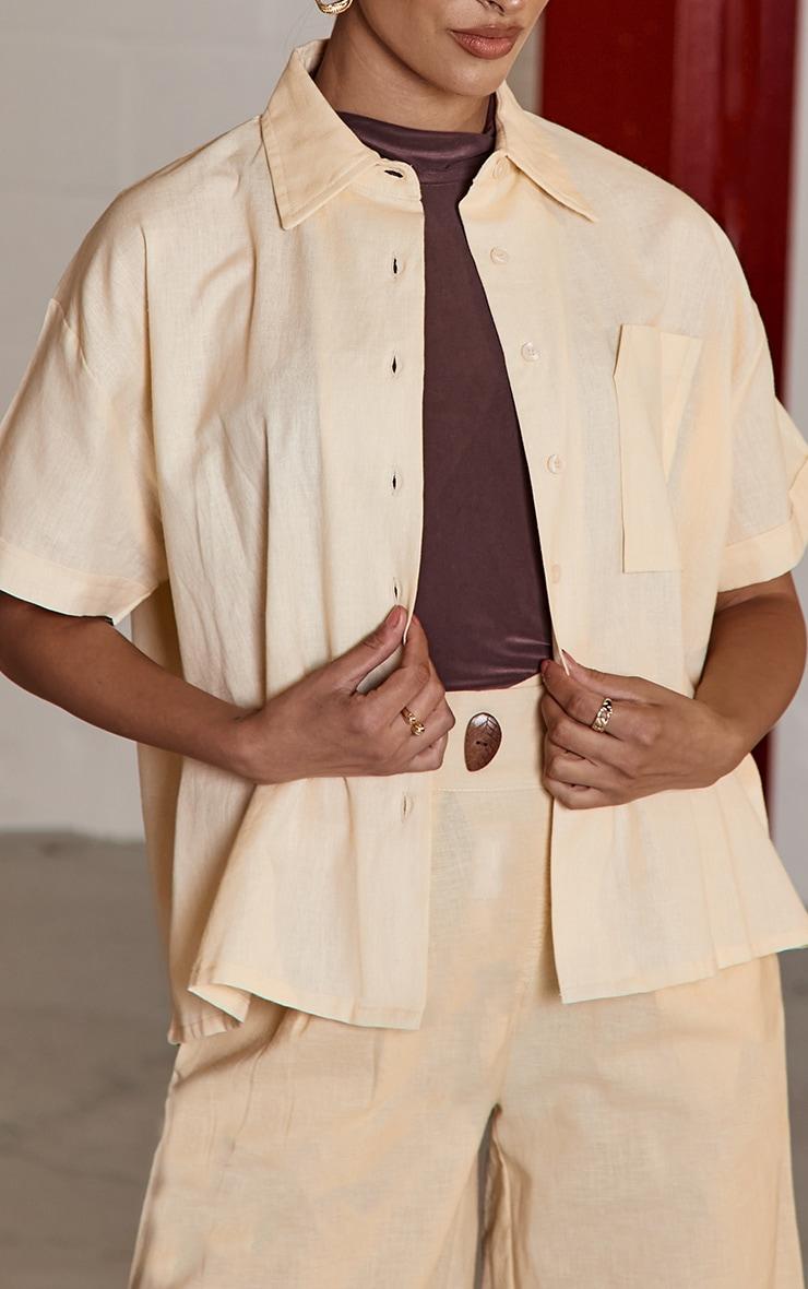 Beige Linen Feel Oversized Boxy Pocket Short Sleeve Shirt 4