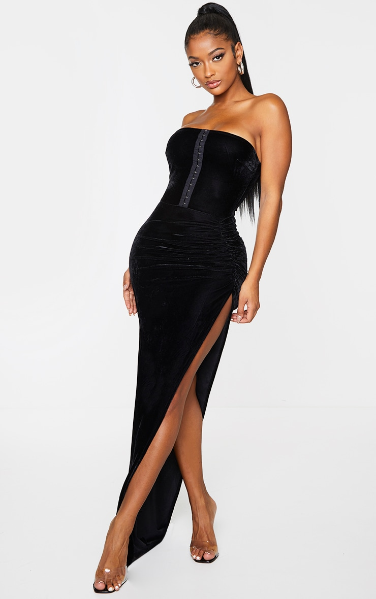 Shape Black Velvet Hook And Eye Bandeau Ruched Skirt Midaxi Dress 2