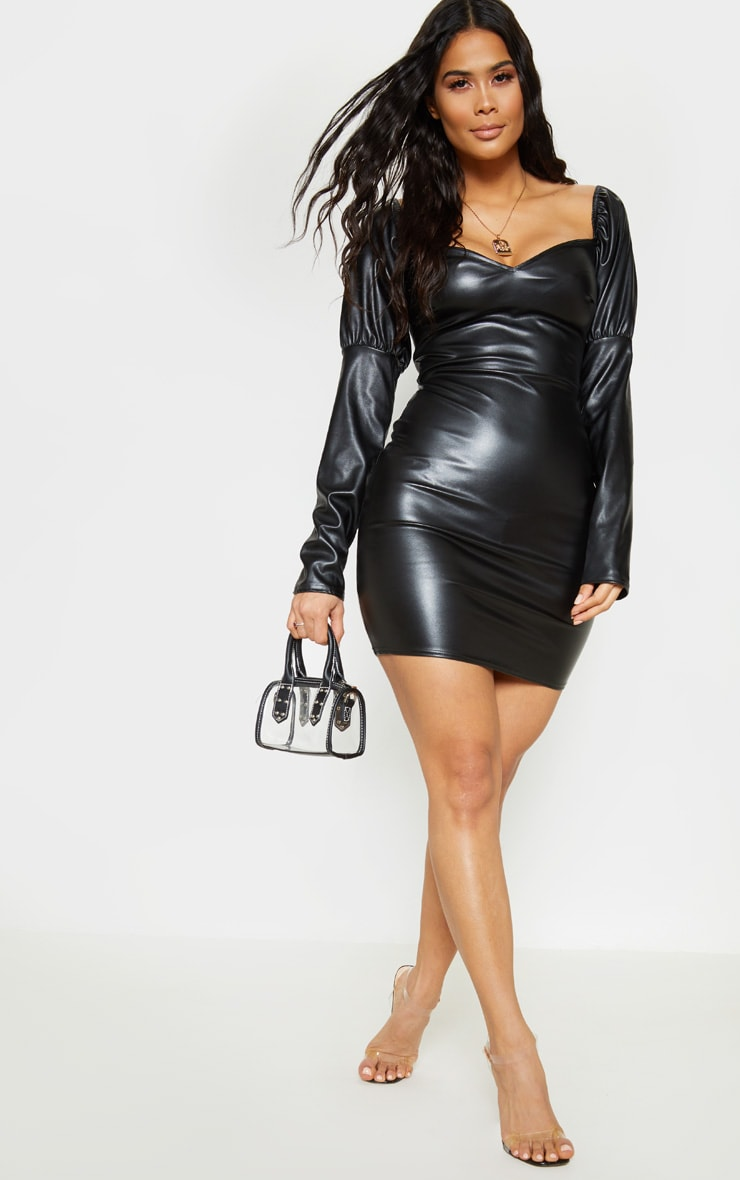 Black Faux Leather Puff Shoulder Bodycon Dress 1
