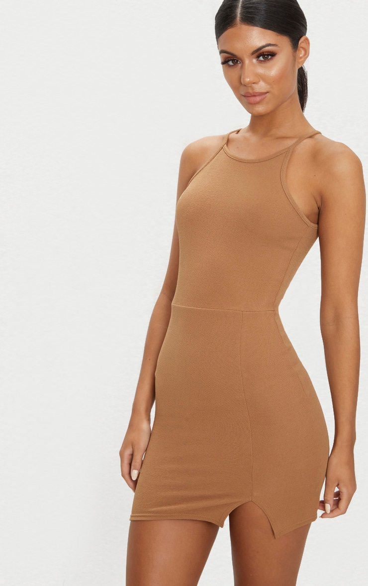 Aniqah Camel High Neck Split Detail Bodycon Dress 1