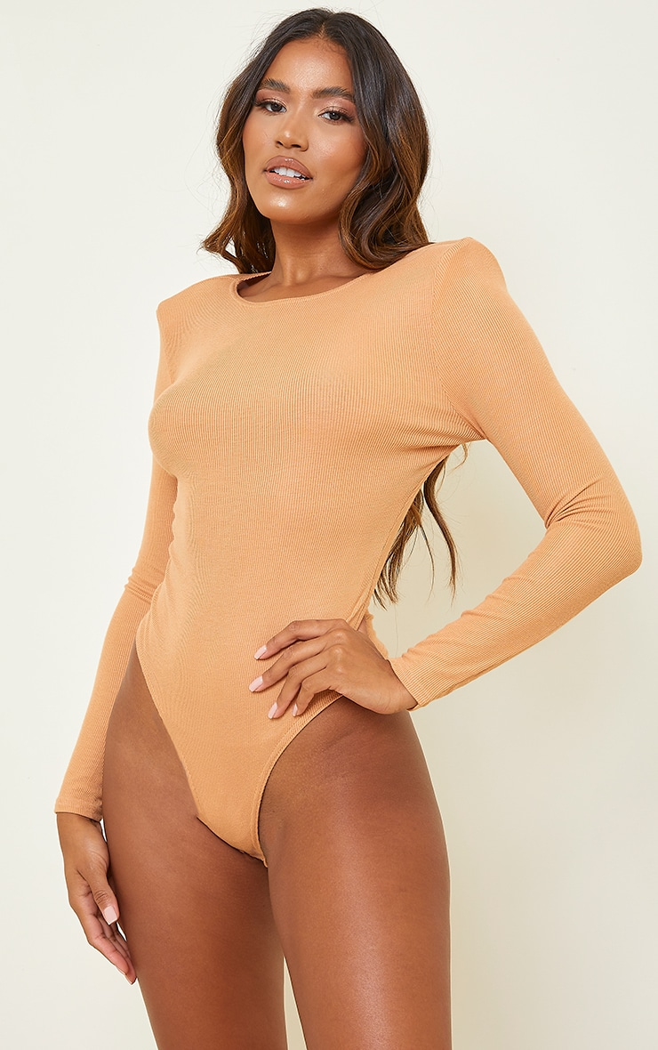 Camel Rib Shoulder Pad Long Sleeve Bodysuit