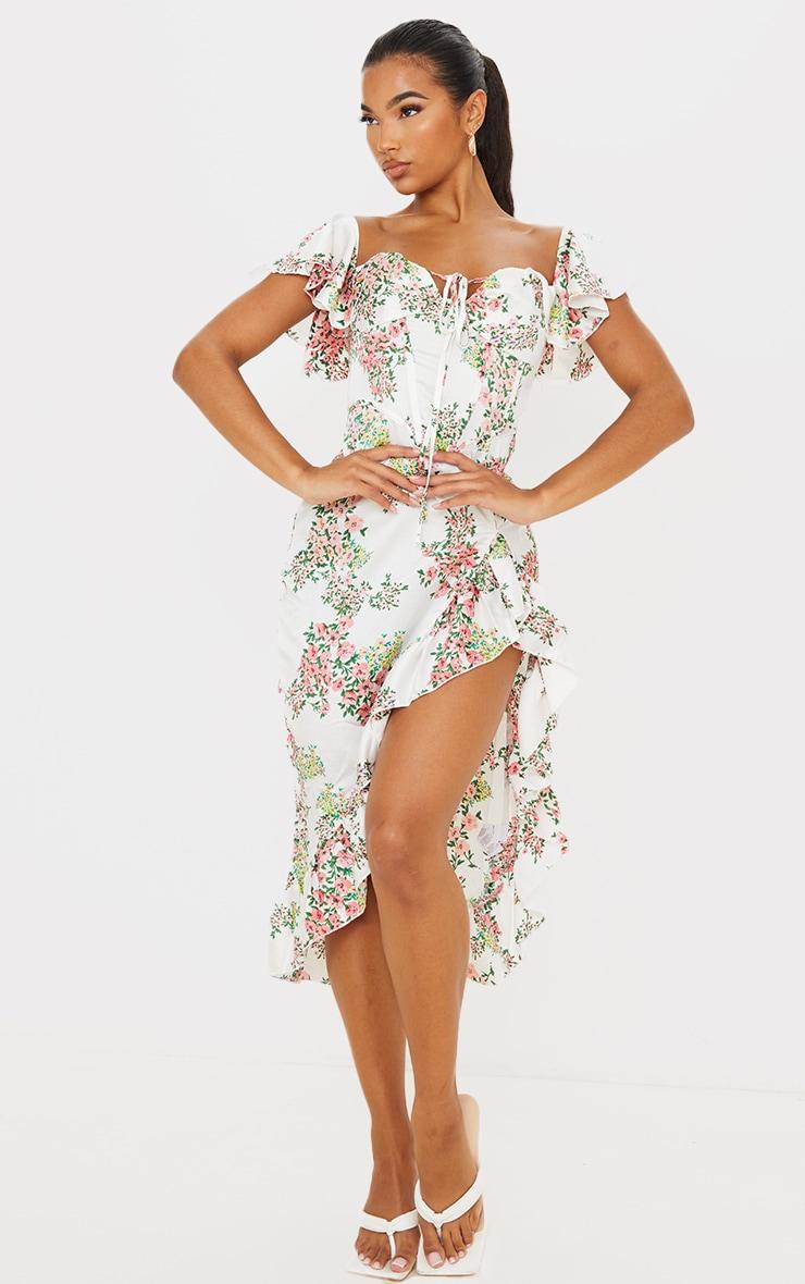 White Floral Satin Corset Frill Hem Midi Dress 3