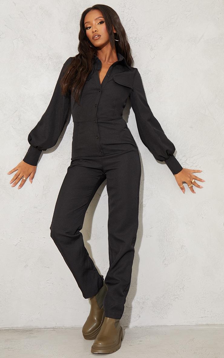 Petite Black Full Sleeve Pocket Detail Jumpsuit 1