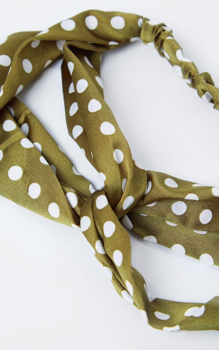 Green Polka Dotted Headband 3