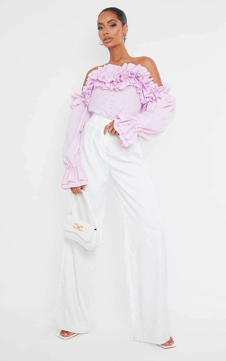 Lilac Ruffle Hem Off Shoulder Long Sleeve Top 3