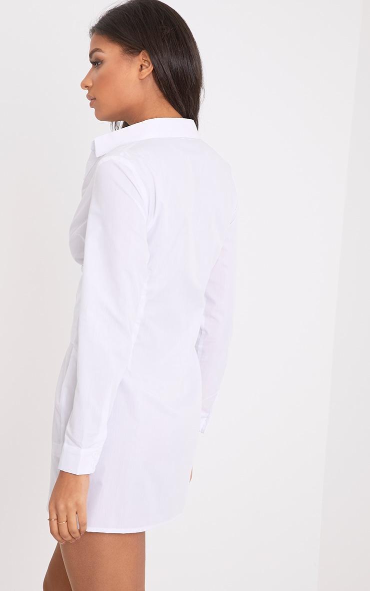 White Corset Lace Up Open Shirt Dress 2