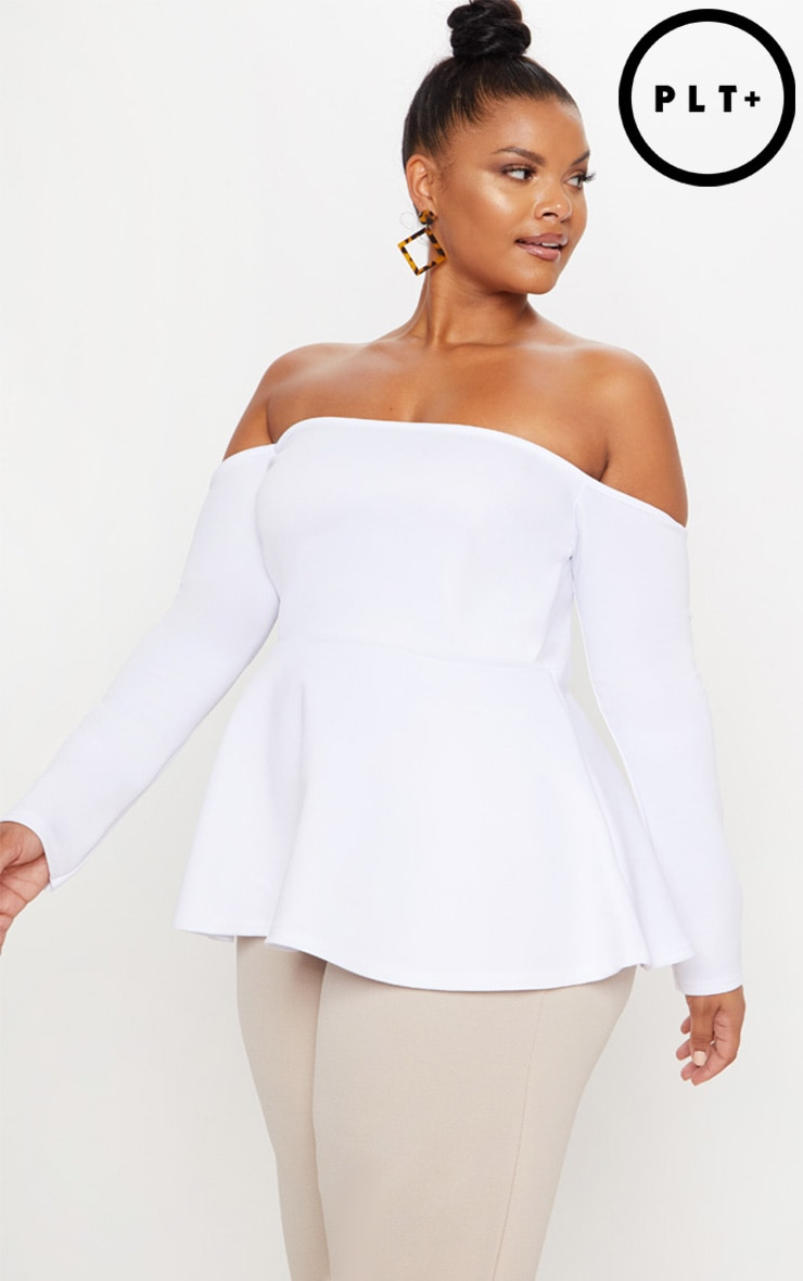 Plus White Bardot Peplum Top