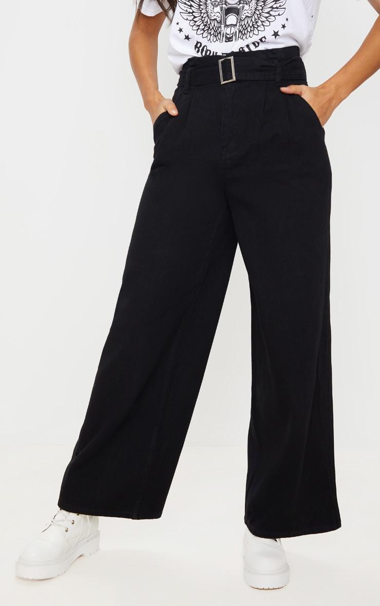Black Belted Wide Leg Jeans 2