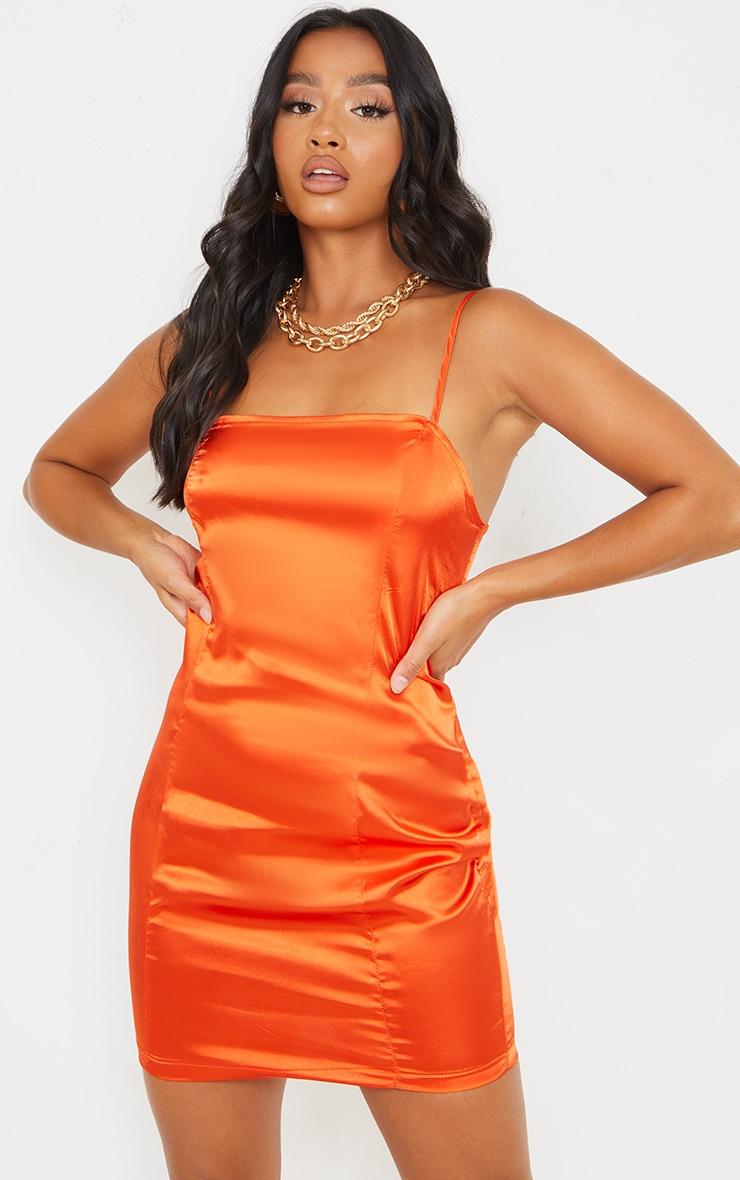 Petite Burnt Orange Satin Strappy Straight Neck Bodycon Dress 1