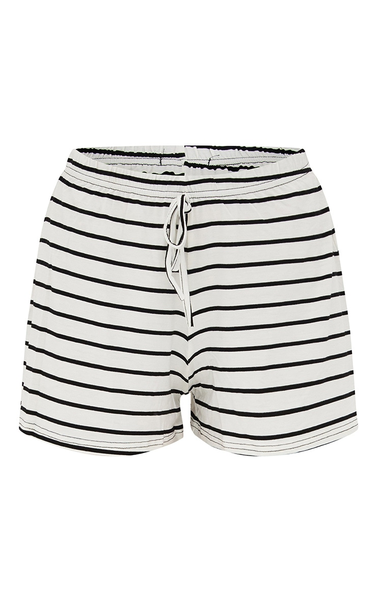 Cream Jersey Stripe Shorts 3