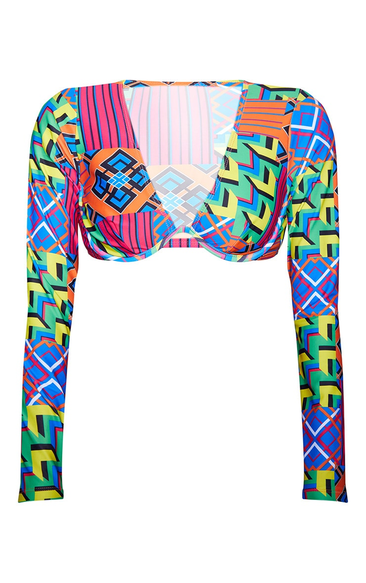 Multi Geo Underwired Long Sleeve Bikini Top 3