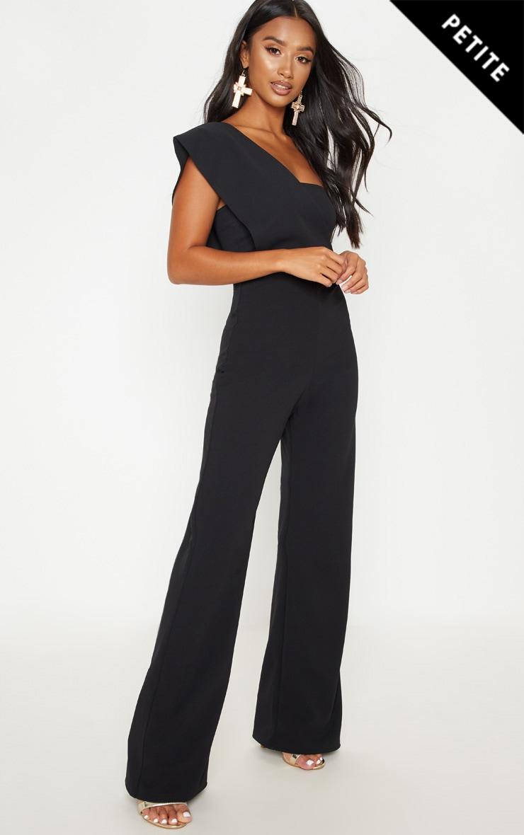 Petite Black Drape One Shoulder Jumpsuit