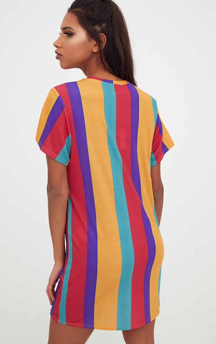 Multi Striped T Shirt Dress 2