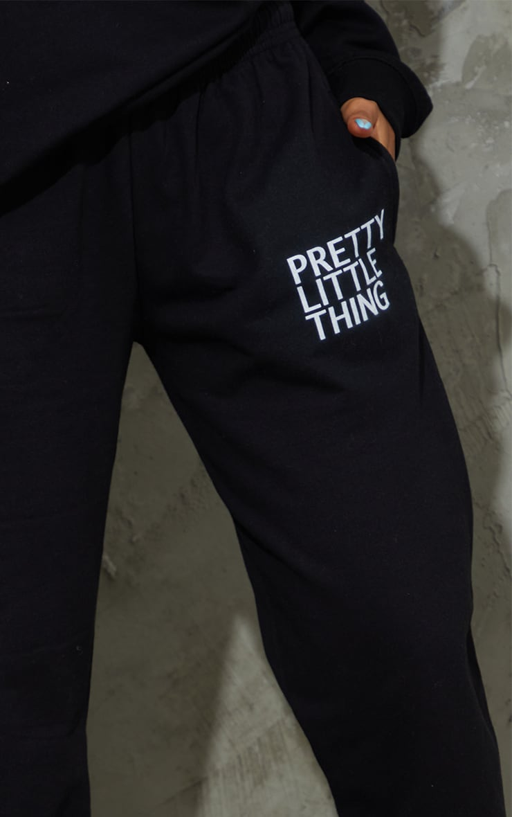PRETTYLITTLETHING Black Printed Joggers 4