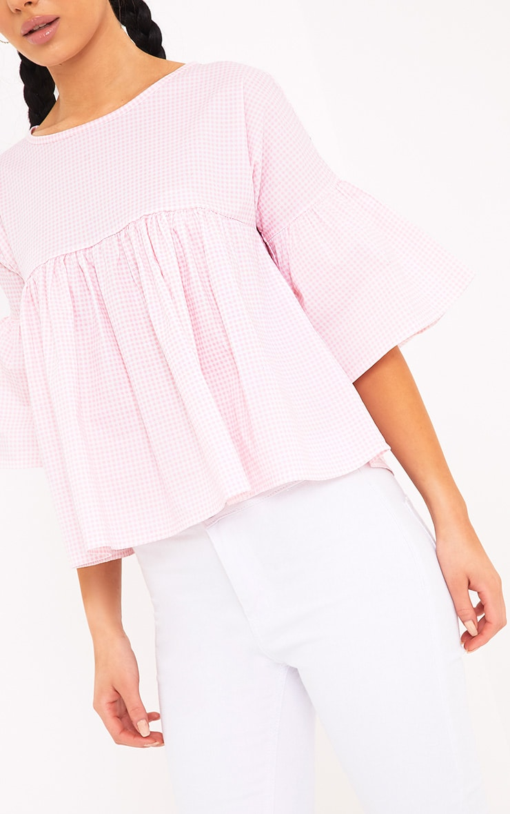 Alexiah Pink Gingham Frill Sleeve Blouse 5
