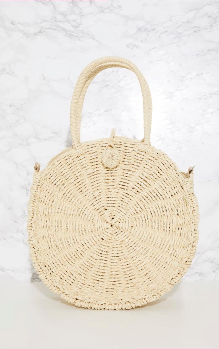 Cream Round Straw Handle Bag 3