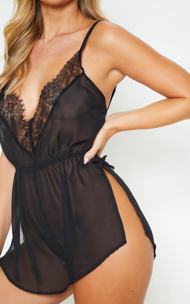 Pyjashort en mousseline de soie noir 5