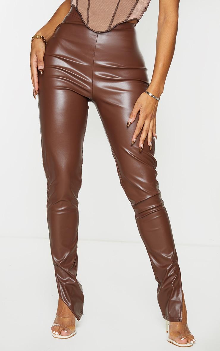 Shape Mocha PU Split Hem Trousers 2