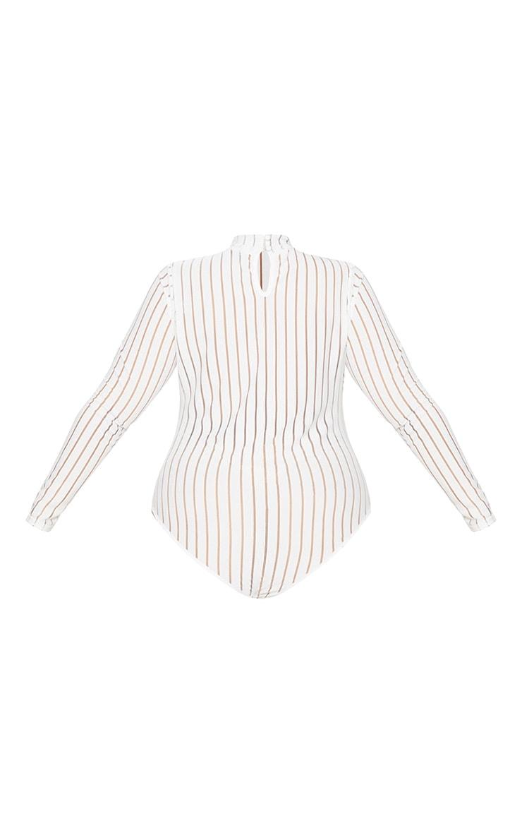 PlusWhite Burn Out Striped Mesh Bodysuit 4