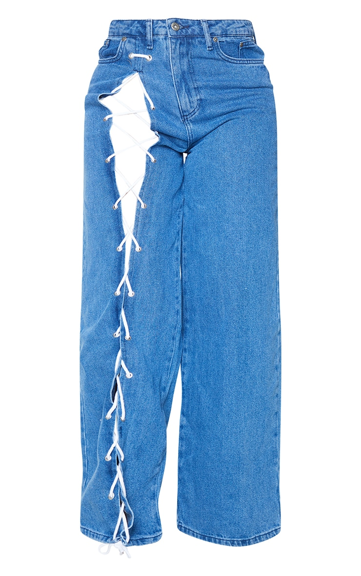 PRETTYLITTLETHING Shape Mid Blue Wash Lace Up Side Wide Leg Jeans 5