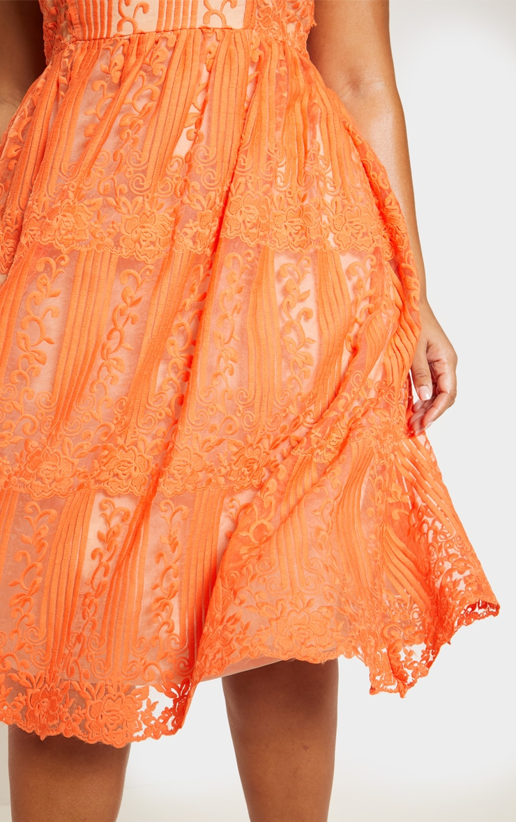 Orange Lace Square Neck Midi Dress 6