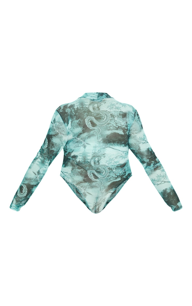 Plus Emerald Green Dragon Printed Mesh High Neck Long Sleeve Bodysuit 6