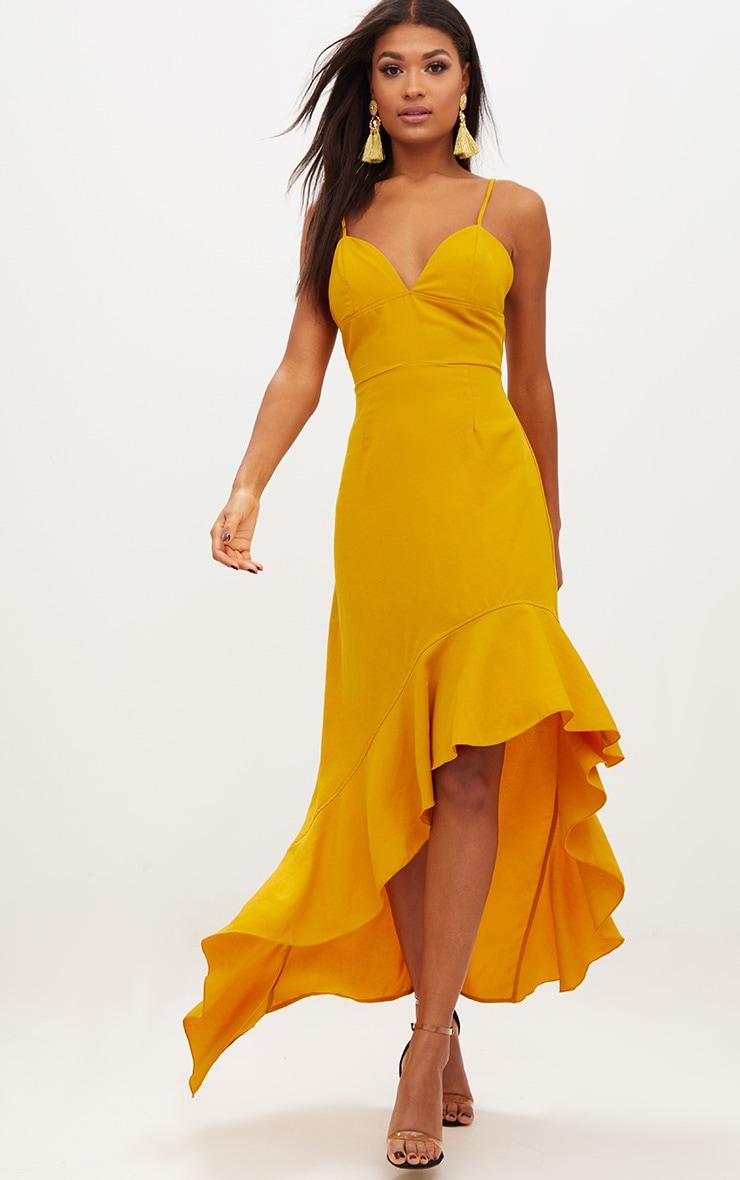Mustard Strappy Plunge Asymmetric Ruffle Hem Maxi Dress 1
