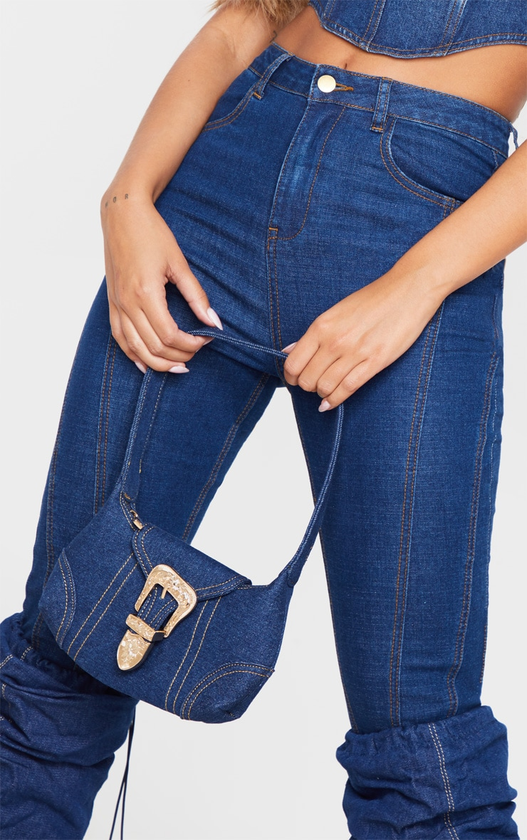 Denim Western Buckle 90's Shoulder Bag 3